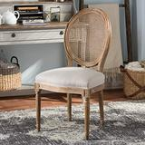 Baxton Studio Adelia French Vintage Cottage Upholstered Dining Side Chair with Round Cane Back