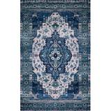 Justina Blakeney x Loloi Cielo Ivory/Turquoise Area Rug Polyester in Blue, Size 90.0 H x 60.0 W x 0.13 D in | Wayfair CIELCIE-01IVTQ5076