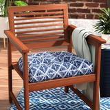 Wrought Studio™ Rehoboth Indoor Wicker Dining Chair Cushion Polyester/Polyester blend in Blue, Size 5.0 H x 19.0 W x 19.0 D in | Wayfair