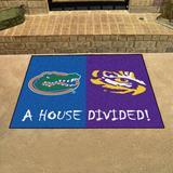FANMATS House Divided - Florida/LSU 42.5 in. x 33.75 in. Non-Slip Indoor Only Door Mat Synthetics in Black/Blue/Green | Wayfair 10304