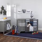 Disney Mickey Mouse Hello World 4 Piece Crib Bedding Set Polyester in Blue/Gray, Size 34.0 W in | Wayfair 2859634