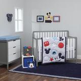 Disney Amazing Mickey Mouse 3 Piece Crib Bedding Set Polyester in Blue/Gray/Red, Size 33.0 W in | Wayfair 4371076