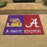 FANMATS House Divided - LSU/Alabama 42.5 in. x 33.75 in. Non-Slip Indoor Only Door Mat Synthetics in Black/Indigo/Red | Wayfair 17150