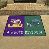FANMATS House Divided - LSU/Tulane 42.5 in. x 33.75 in. Non-Slip Indoor Only Door Mat Synthetics in Black/Green, Size 33.75 W x 42.5 D in | Wayfair