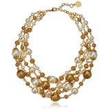 """Ben-Amun Jewelry Gold Ball and Pearl Multi-Strand Statement Necklace, 13"""" long"""