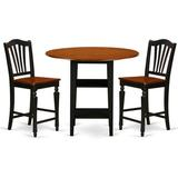 Charlton Home® Tyshawn Counter Height Drop Leaf Rubberwood Solid Wood Dining Set Wood in Black/Brown, Size 36.0 H in | Wayfair