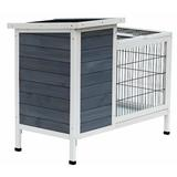 """Tucker Murphy™ Pet Gaviota Wooden Outdoor Rabbit Hutch Elevated Bunny Cage w/ Enclosed Run, Solid Wood in Blue/White, Size 30""""H X 36""""W X 22""""D"""