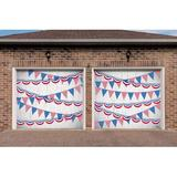 The Holiday Aisle® 2 Piece Patriotic Garage Door Mural Set Plastic in Blue/Red, Size 84.0 H x 96.0 W x 1.0 D in | Wayfair