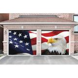 The Holiday Aisle® 2 Piece Patriotic Garage Door Mural Set Plastic in Blue/Red/White, Size 84.0 H x 96.0 W x 1.0 D in | Wayfair