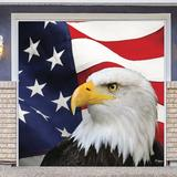 The Holiday Aisle® Patriotic Garage Door Mural Plastic in Blue/Red/White, Size 84.0 H x 96.0 W x 1.0 D in | Wayfair