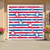 The Holiday Aisle® Stars & Stripes Patriotic Garage Door Mural Plastic in Blue/Red, Size 84.0 H x 96.0 W x 1.0 D in | Wayfair