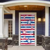 The Holiday Aisle® Stars & Stripes Patriotic Front Door Mural Plastic in Blue/Red, Size 80.0 H x 36.0 W x 1.0 D in | Wayfair