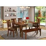East West Furniture Rectangular Dining Table Set 6 Pc - PU Leather Kitchen Chairs Seat - Mahogany Finish Dining Room Table and Kitchen Bench