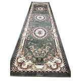 Traditional Runner Oriental Aubusson Floral Area Rug Persian Green Burgundy Beige Design 602 (31 Inch X 9 Feet 10 Inch)