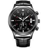 JEDIR Men Military Chronograph Quartz Wrist Watch Analog Number Dial with Date Window Metal Case (All Black)