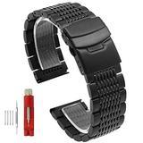 Solid Mesh Stainless Steel Bracelets 20mm/22mm/24mm Watch Bands Deployment Buckle Brushed/Polished Strap for Men Women (22mm, Black)