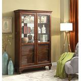 """Major-Q 77"""" H Transitional Cherry Finish Wooden Curio Cabinet with 6 Drawers"""