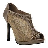 MVE Shoes Women's Lace Bridal High Heel Platform Peep Toe Shootie - Satin Lace Open Toe Cover Dress Pump - Lace High Heel Shootie with Flatback Crystals Brown 8