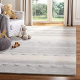 Safavieh Kids Collection SFK801F Handmade Stripe Wool Area Rug, 4' x 6', Grey / Ivory