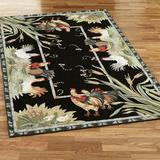 """Rooster and Hens Rectangle Rug, 7'9"""" x 9'9"""", Black"""