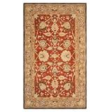 Safavieh Anatolia Lucie Framed Floral Wool Rug, Red/Coppr, 4Ft Rnd