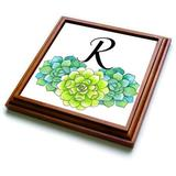 """3dRose Pretty Watercolor Blue Dandelion Flowers With Love Design Trivet with Tile, 8 by 8"""""""