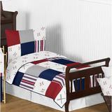 Sweet Jojo Designs Baseball Patch 5 Piece Toddler Bedding Set Polyester in Blue/Gray/Red | Wayfair BaseballPatch-Tod