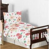 Sweet Jojo Designs Watercolor Floral 5 Piece Toddler Bedding Set Polyester in Green/Yellow | Wayfair WatercolorFloral-PC-GR-Tod