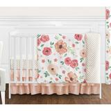 Sweet Jojo Designs Watercolor Floral 4 Piece Crib Bedding Set Polyester in Green/Yellow, Size 45.0 W in   Wayfair WatercolorFloral-PC-GR-Crib-4