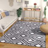 "Well Woven Modern Geometric Caravan High-Low Pile Area Rug 5x7 (x) Diamond Trellis Tribal Carpet, 5'3"" x 7'3"", Grey"