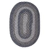 Winston Porter Westin Hand-Braided Area Rug Polyester/Polypropylene/Cotton in Blue/White, Size 132.0 H x 96.0 W x 0.5 D in | Wayfair