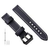 22mm Black Leather Watch Band 22m Leather Watch Band 22mm Watch Band 22mm Leather Genuine Leather Watch Band Bracelet Compatible with Panerai