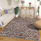 """Well Woven Modern Geometric Essence Red Blue and Yellow High-Low Pile Area Rug 5x7 (x) Abstract Triangle Boxes Carpet, 5'3"""" x 7'3"""", Multi"""