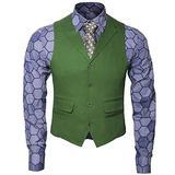 Adult Mens Knight Clown Costume Shirt Vest Tie Outfit Suit Set Fancy Dress Up Halloween Cosplay Props (Small, Shirt Vest Tie Set)