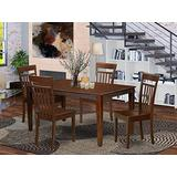 East West Furniture CAP5S-MAH-W Set 5 Pc-Wooden Dining Room Chairs Seat-Mahogany Finish Small Table and Structure, Wood