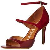 Calvin Klein Women's Nadeen Heeled Sandal, red Leather/Suede, 9.5 M US