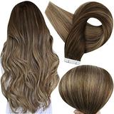 Fshine Remy Human Hair Tape In Extensions 14 Inch Balayage Color 4 Medium Brown Fading To 27 Honey Blonde And 14 Highlighted With 4 Double Sided Tape In Remy Human Hair Extensions 50 Grams