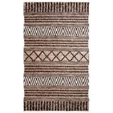 World Menagerie Edwa Ikat Hand-Knotted Wool Charcoal/Ivory Area Rug Wool in Brown/Gray, Size 132.0 H x 96.0 W x 0.24 D in | Wayfair