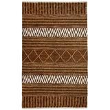 World Menagerie Edwa Ikat Hand-Knotted Gold/Ivory Area Rug Wool in Brown/White, Size 132.0 H x 96.0 W x 0.24 D in | Wayfair
