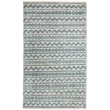 World Menagerie Edwa Oriental Hand-Knotted Wool Teal/Ivory Area Rug Wool in Brown/White, Size 132.0 H x 96.0 W x 0.24 D in   Wayfair