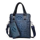 Genuine Leather Vertical Briefcase Alligator Print Business Shoulder Bag for Men with Zipper Clutch Wallet Blue