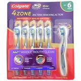 Colgate 360 Advanced 4 Zone Toothbrushes - Soft, 6 Pack