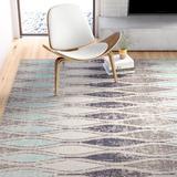 Wrought Studio™ Boswell Geometric Flint/Arctic Indoor/Outdoor Area Rug Polypropylene in Gray, Size 144.0 H x 106.0 W x 0.17 D in | Wayfair