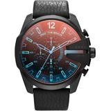 Men's Chronograph Mega Chief Iridescent Crystal Black Leather Strap Watch 51mm Dz4323 - Black - DIESEL Watches