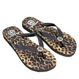 Tory Burch Flip Flops Shoes Sandals Flat Rubber (7), Animal Print