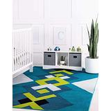 Unique Loom Metro Collection Geometric Squares Abstract Bright Colors Turquoise Area Rug (5' 0 x 8' 0)