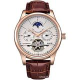 Men's Watch Automatic Mechanical Skeleton Dial Leather Band Watch Date/Week/24H Sub-dials