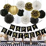 Birthday Decorations Black Happy Birthday Banner Paper Flowers Tissue Paper Pom Poms Paper Lanterns Paper Fans for Birthday Party
