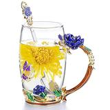 COAWG Glass Tea Cup, 12oz Lead-Free Blue Rose Flower Hand Made Enamel Butterfly and Blue Rose Flower Tea Mug with Handle,Birthday Christmas for Women Grandma Mom Female Friend