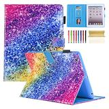 Casii iPad 2/3/4 Case 9.7 inch,Lightweight Ultra Slim Smart Case Flexible Soft Premium PU Leather Back Cover Case Flip Folio Stand Case with Card Slots Stylus Holder for iPad 2 3 4,Colorful Diamond